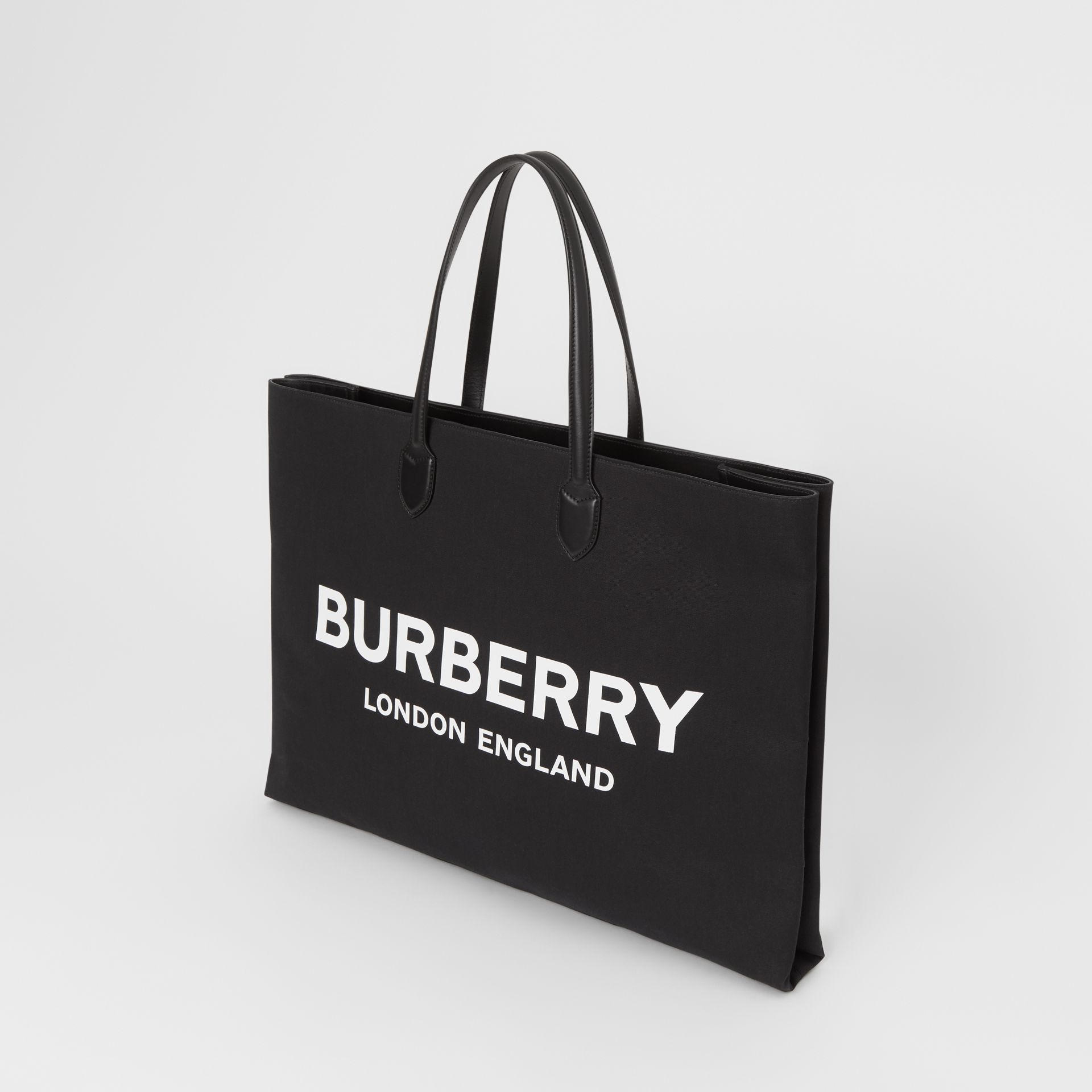 Logo Detail Cotton Blend Tote in Black | Burberry United Kingdom - gallery image 2