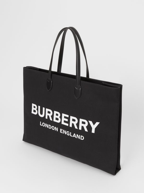Logo Detail Cotton Blend Tote in Black | Burberry - cell image 2
