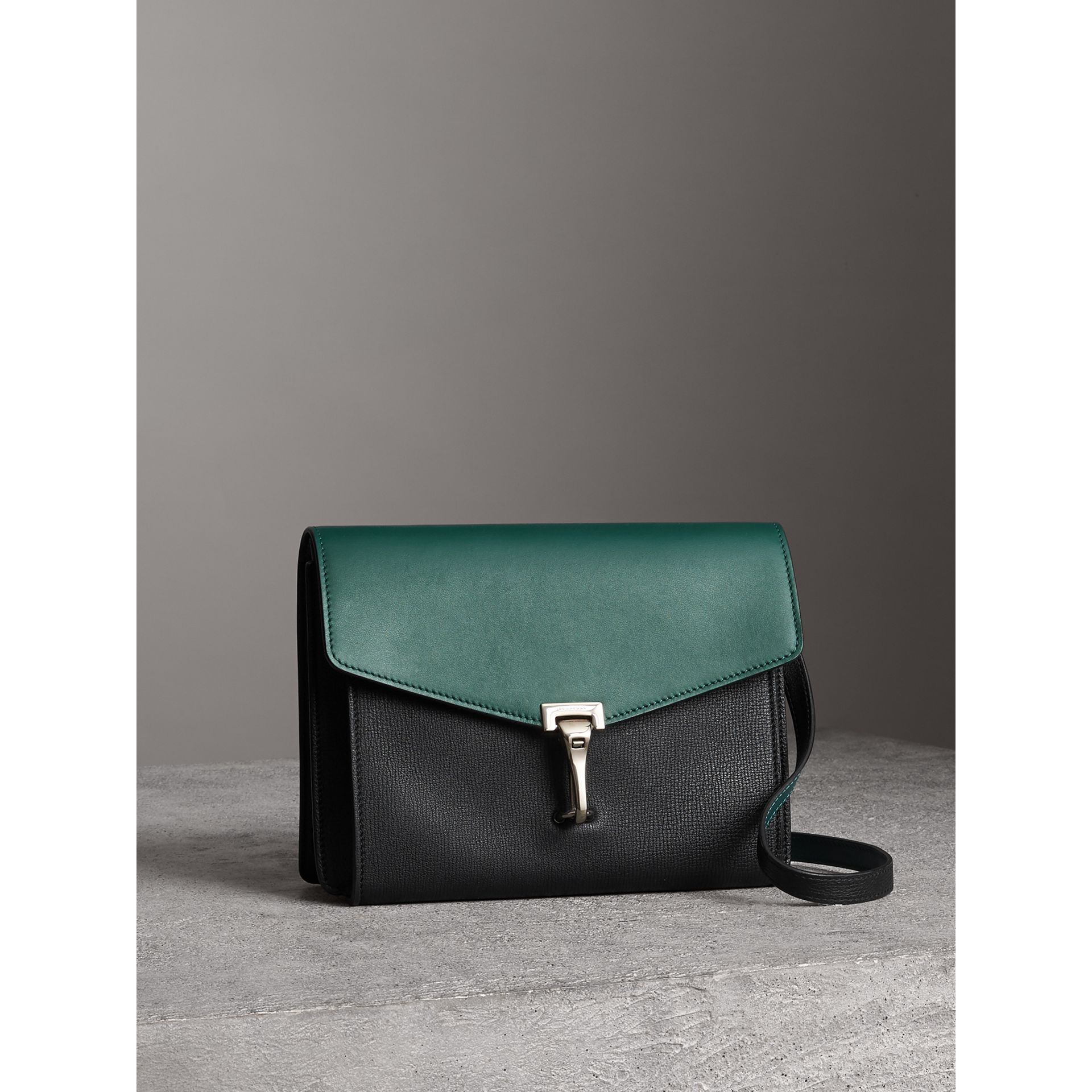 Two-tone Leather Crossbody Bag in Black/sea Green - Women | Burberry United Kingdom - gallery image 6