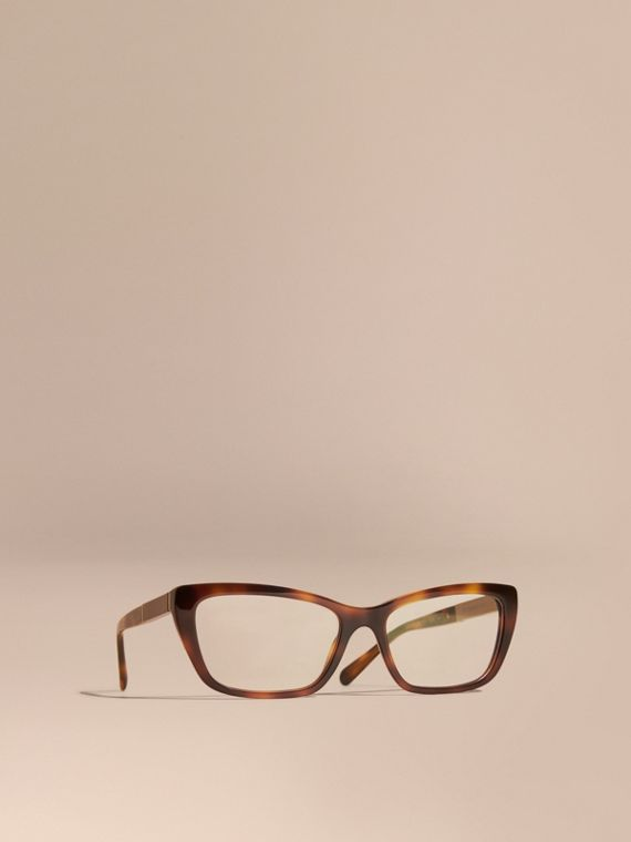 Check Detail Rectangular Cat-eye Optical Frames Light Russet Brown