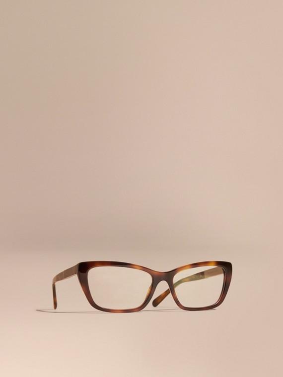 Monture œil-de-chat rectangulaire pour lunettes de vue avec détails check Brun Roux Clair