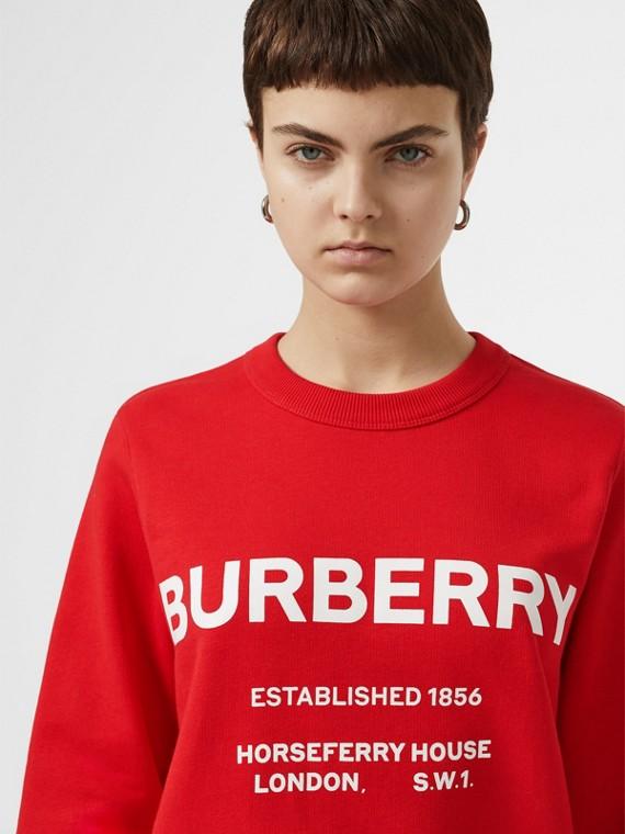 Sweat-shirt en coton à imprimé Horseferry (Rouge Vif)