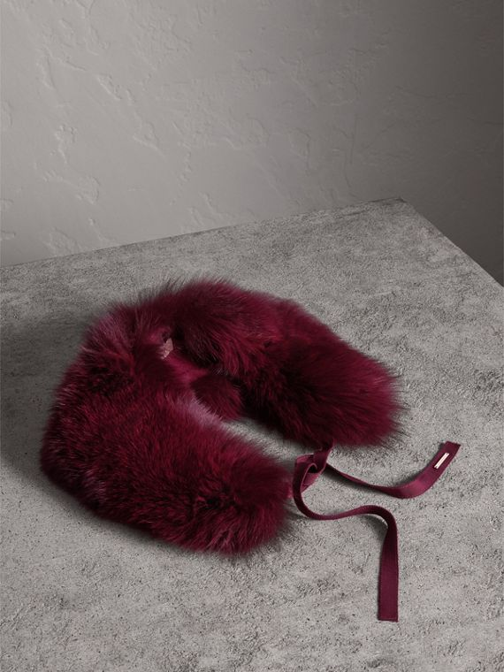 Fox Fur Collar with Check Cashmere Lining in Plum