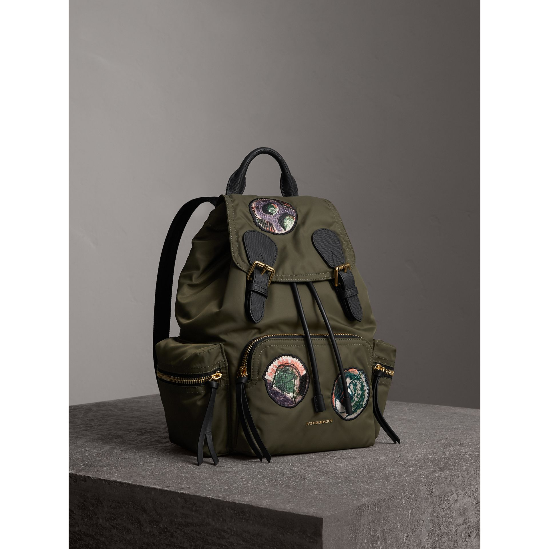The Medium Rucksack in Technical Nylon with Pallas Heads Appliqué in Canvas Green - Women | Burberry United Kingdom - gallery image 7