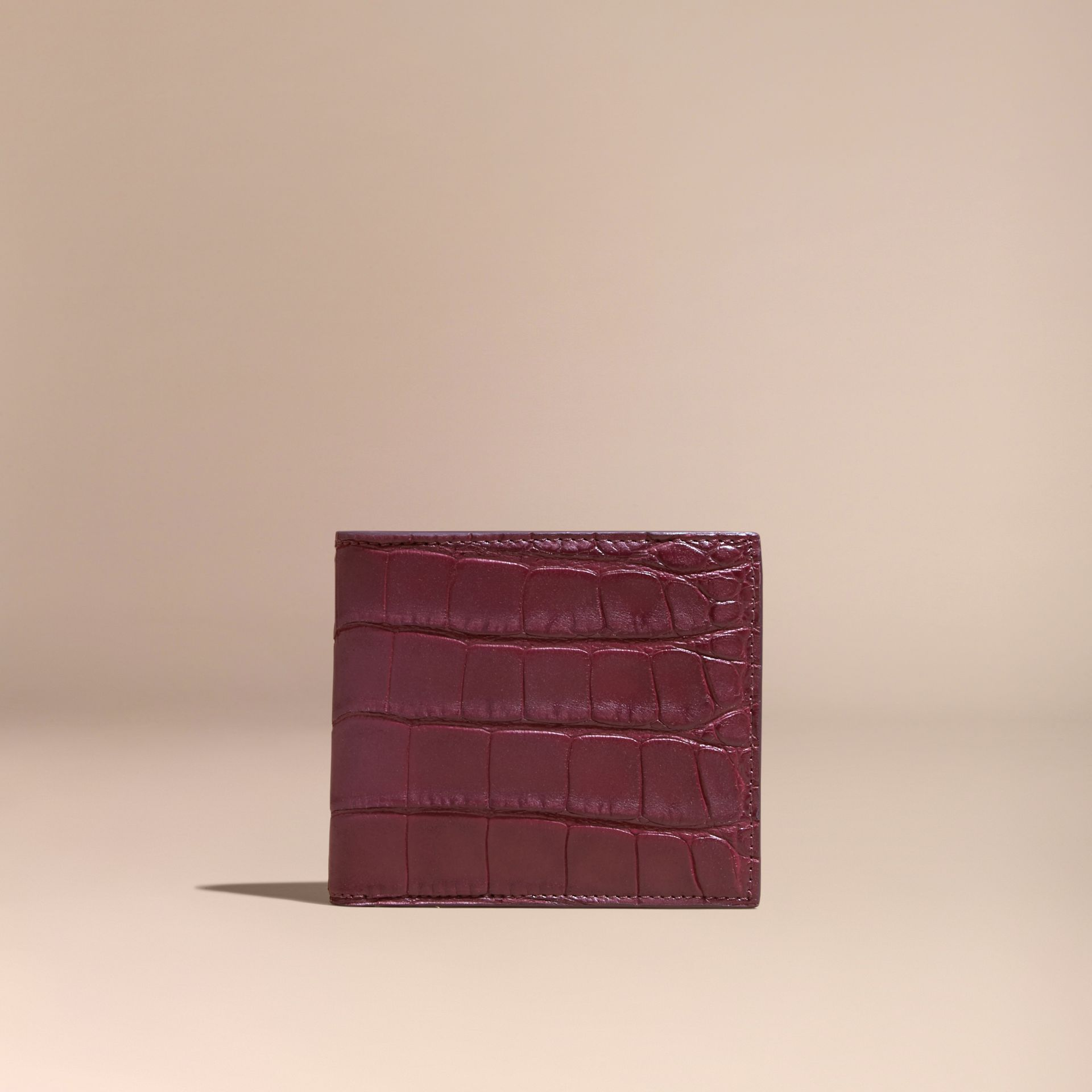 Deep claret Alligator and Leather Folding Wallet - gallery image 6