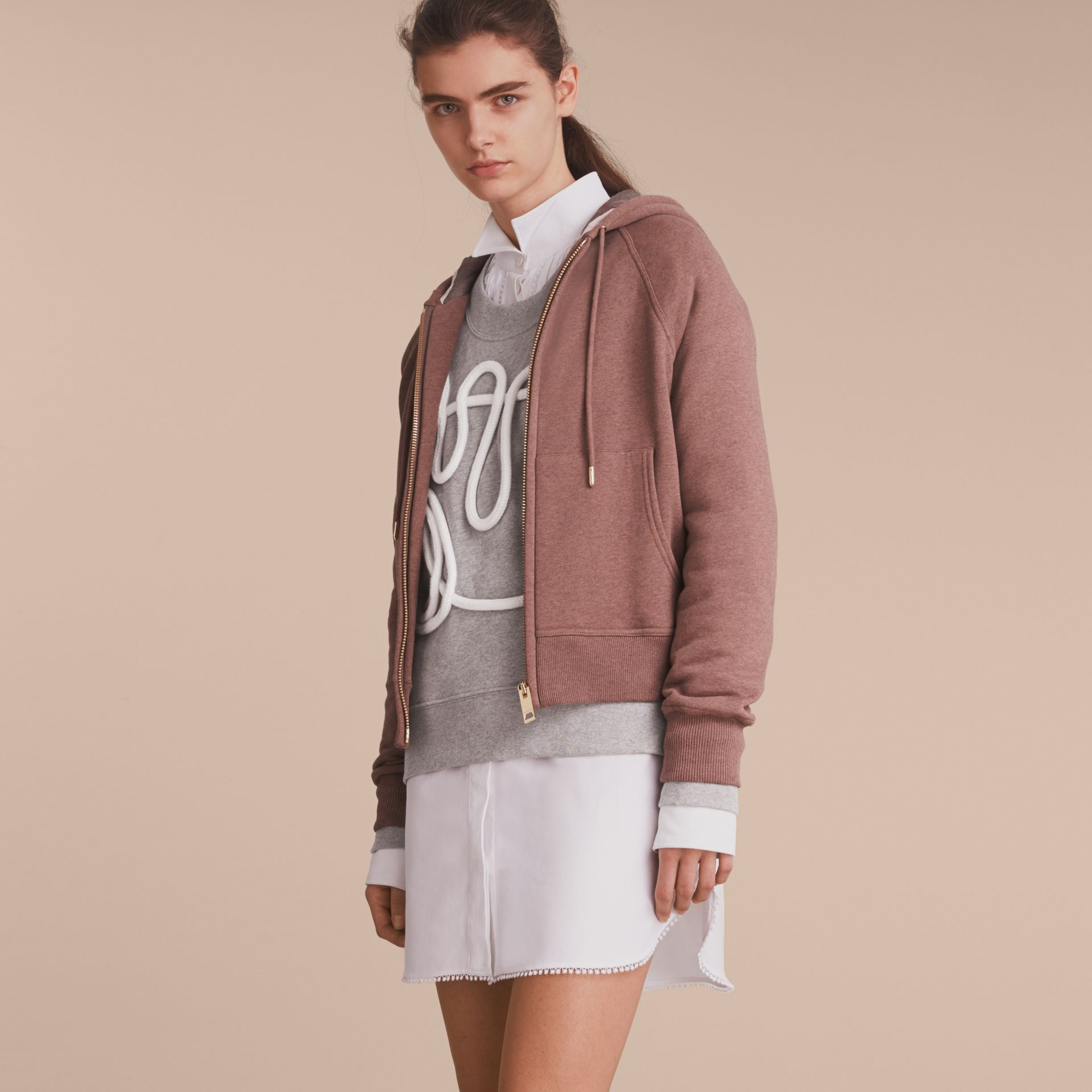 Hooded Cotton Blend Top in Antique Rose - gallery image 6