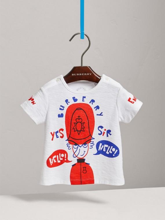 Camiseta de algodão com estampa London Icons (Branco)