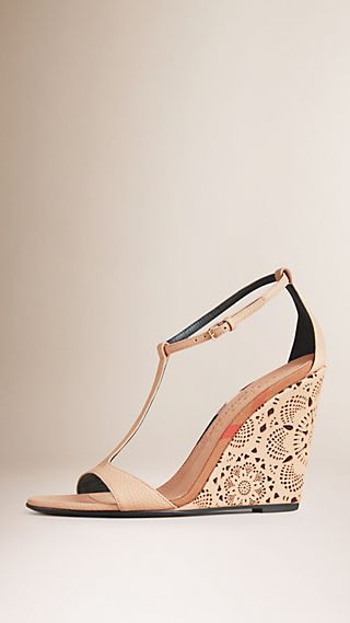 Laser-cut Lace Leather Wedges