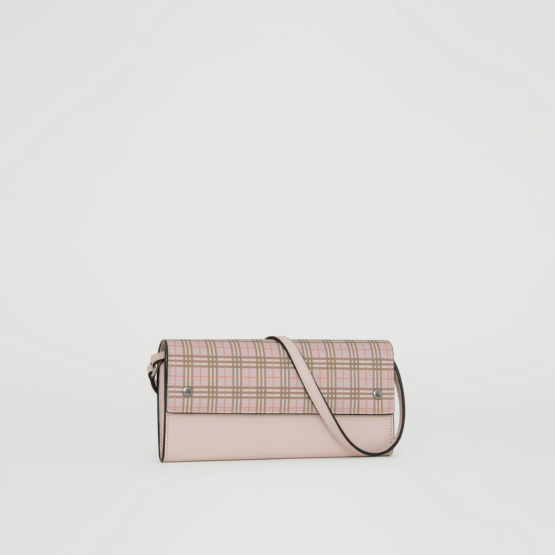 Small Scale Check Wallet with Detachable Strap in Ice Pink - Women | Burberry Canada - gallery image 6