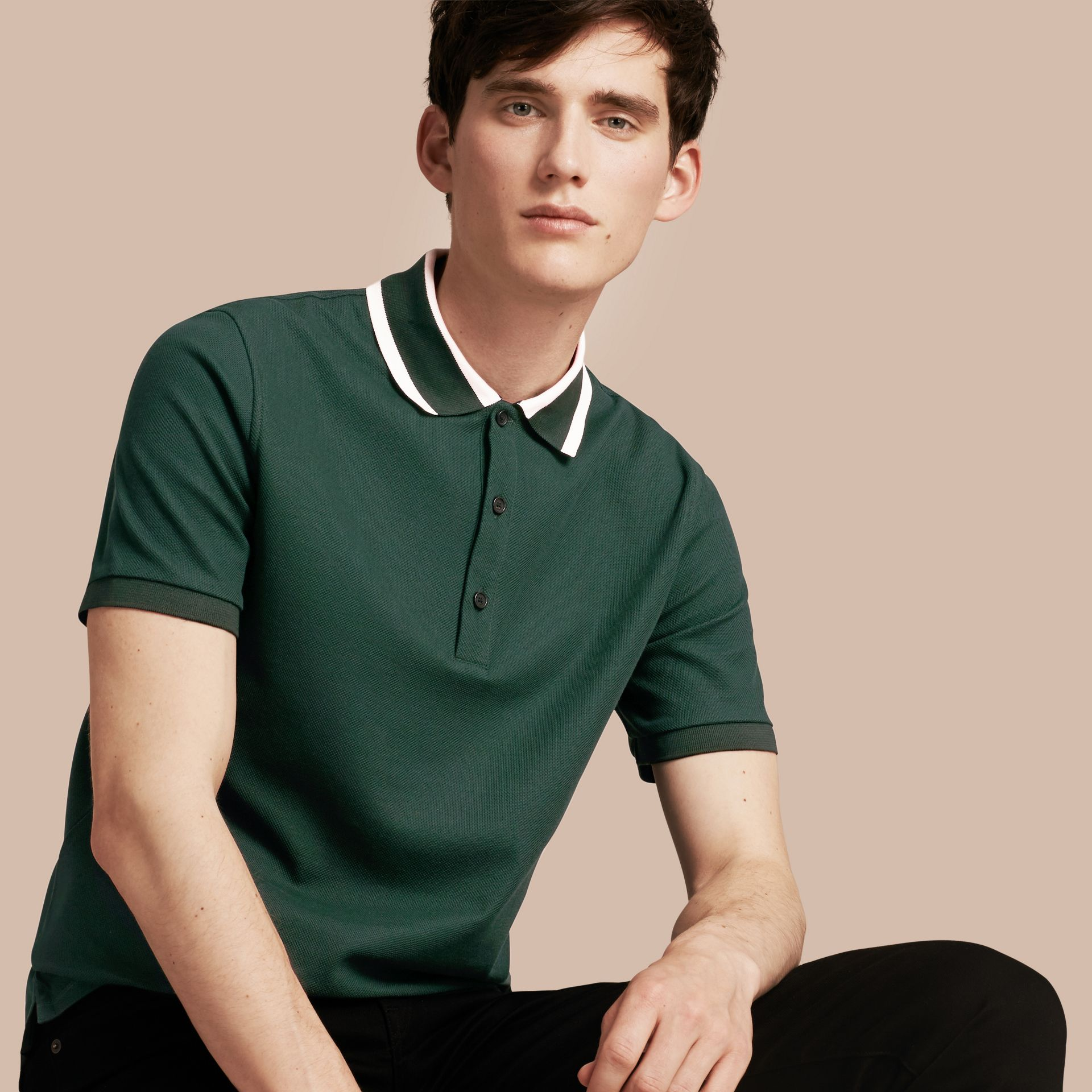 Racing green Striped Collar Cotton Piqué Polo Shirt Racing Green - gallery image 1
