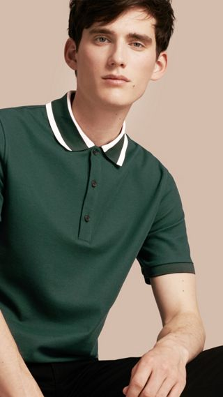 Striped Collar Cotton Piqué Polo Shirt
