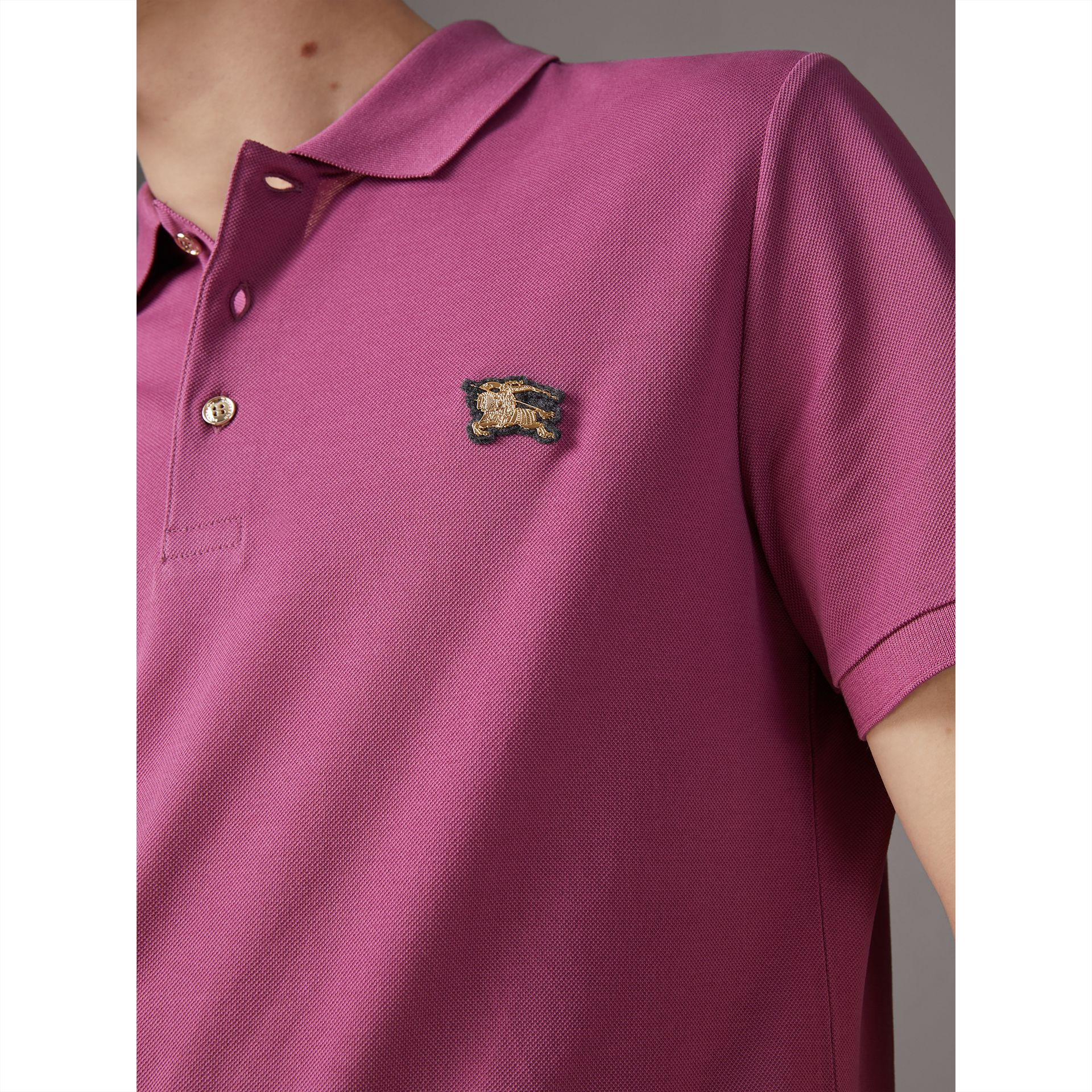 Cotton Piqué Polo Shirt in Pink Azalea - Men | Burberry - gallery image 1