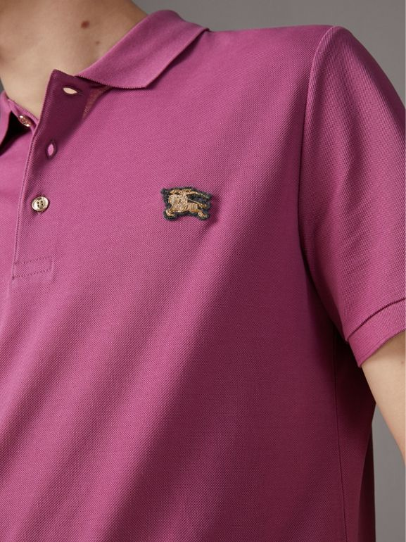 Cotton Piqué Polo Shirt in Pink Azalea - Men | Burberry - cell image 1