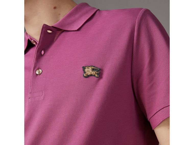 Cotton Piqué Polo Shirt in Pink Azalea - Men | Burberry United Kingdom - cell image 1