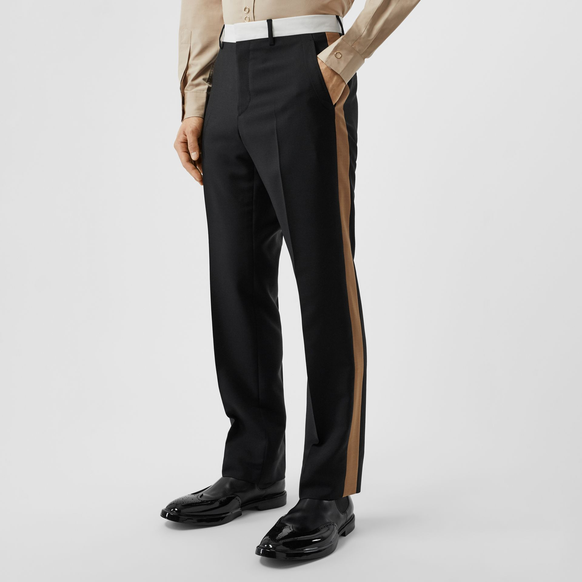 Tri-tone Mohair Wool Tailored Trousers in Black - Men | Burberry Australia - gallery image 3
