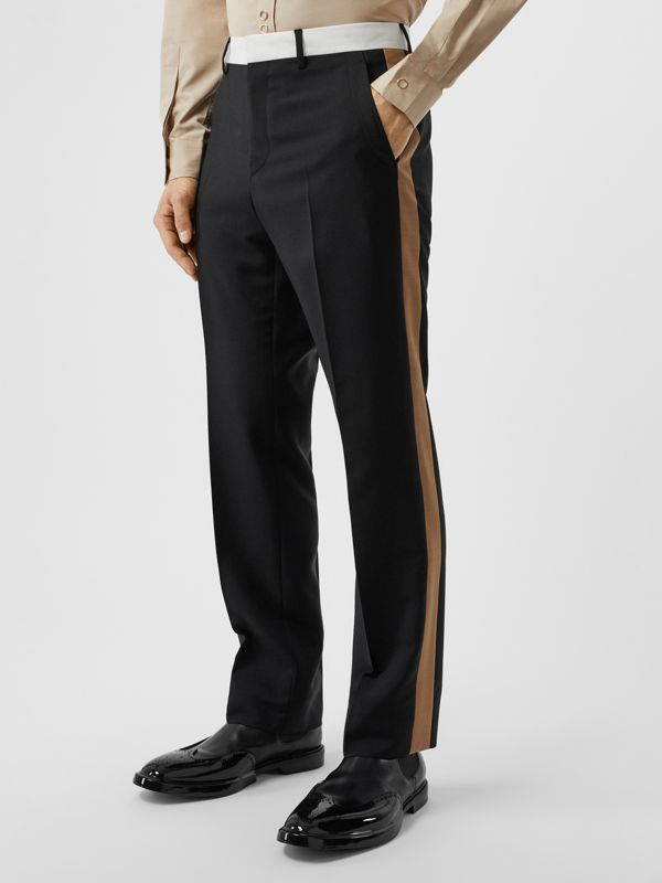 Tri-tone Mohair Wool Tailored Trousers in Black - Men | Burberry Australia - cell image 3