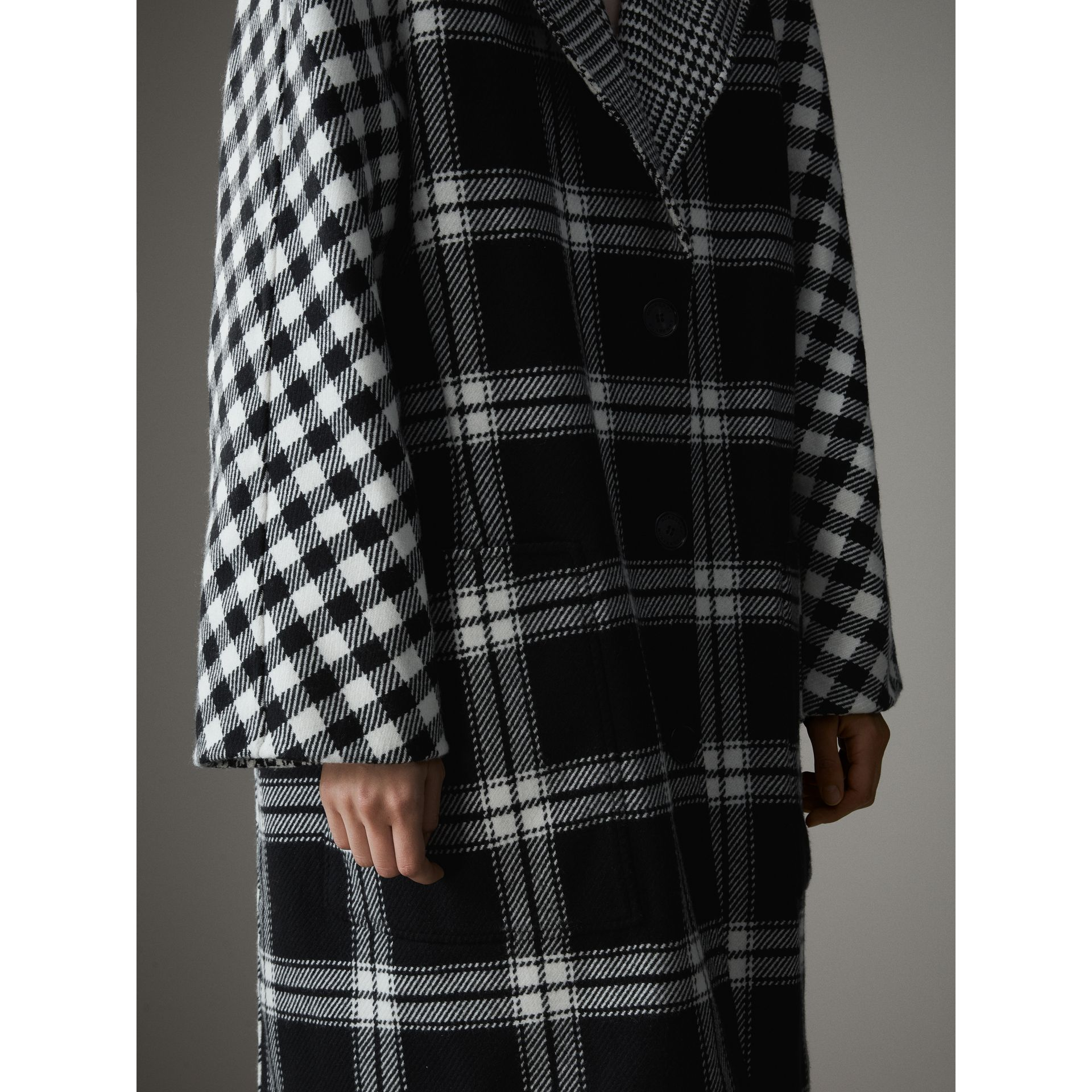 Reversible Multi-check Wool Cashmere Coat in Black/white - Women | Burberry Singapore - gallery image 6