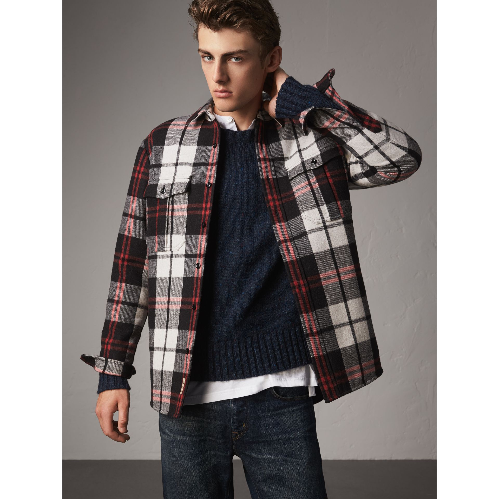 Quilt-lined Check Wool Cotton Blend Flannel Shirt in Black - Men | Burberry - gallery image 6