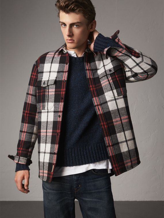 Quilt-lined Check Wool Cotton Blend Flannel Shirt in Black