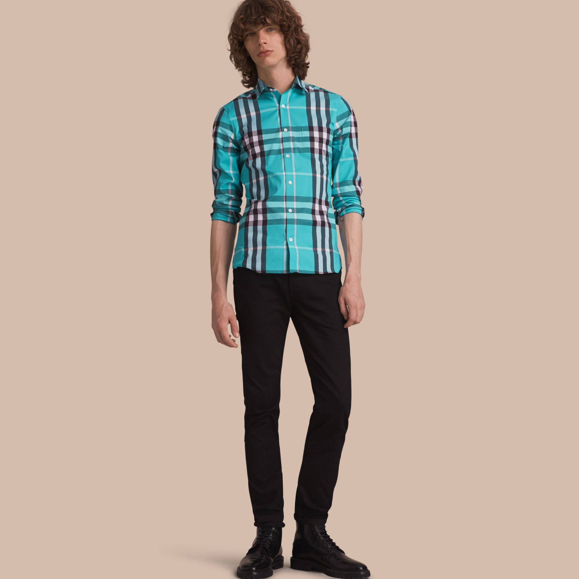 Check Stretch Cotton Shirt in Cyan Green - Men | Burberry United States - gallery image 1