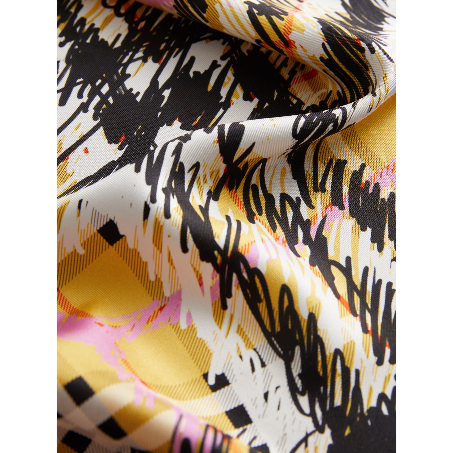 Scribble Check Silk Scarf in Bright Yellow - Women | Burberry - gallery image 1