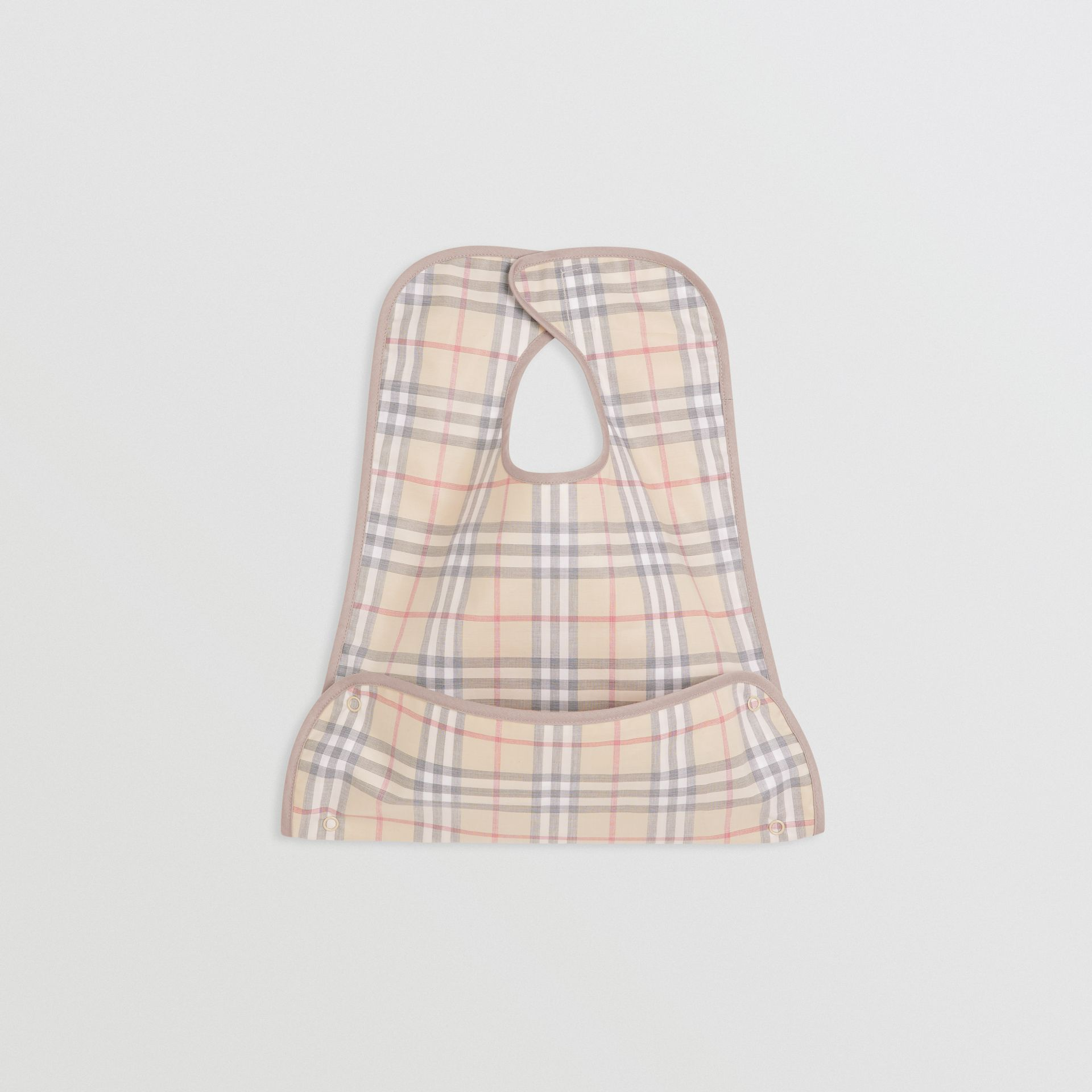 Coated Check Cotton Baby Bib in Pale Stone - Children | Burberry - gallery image 0