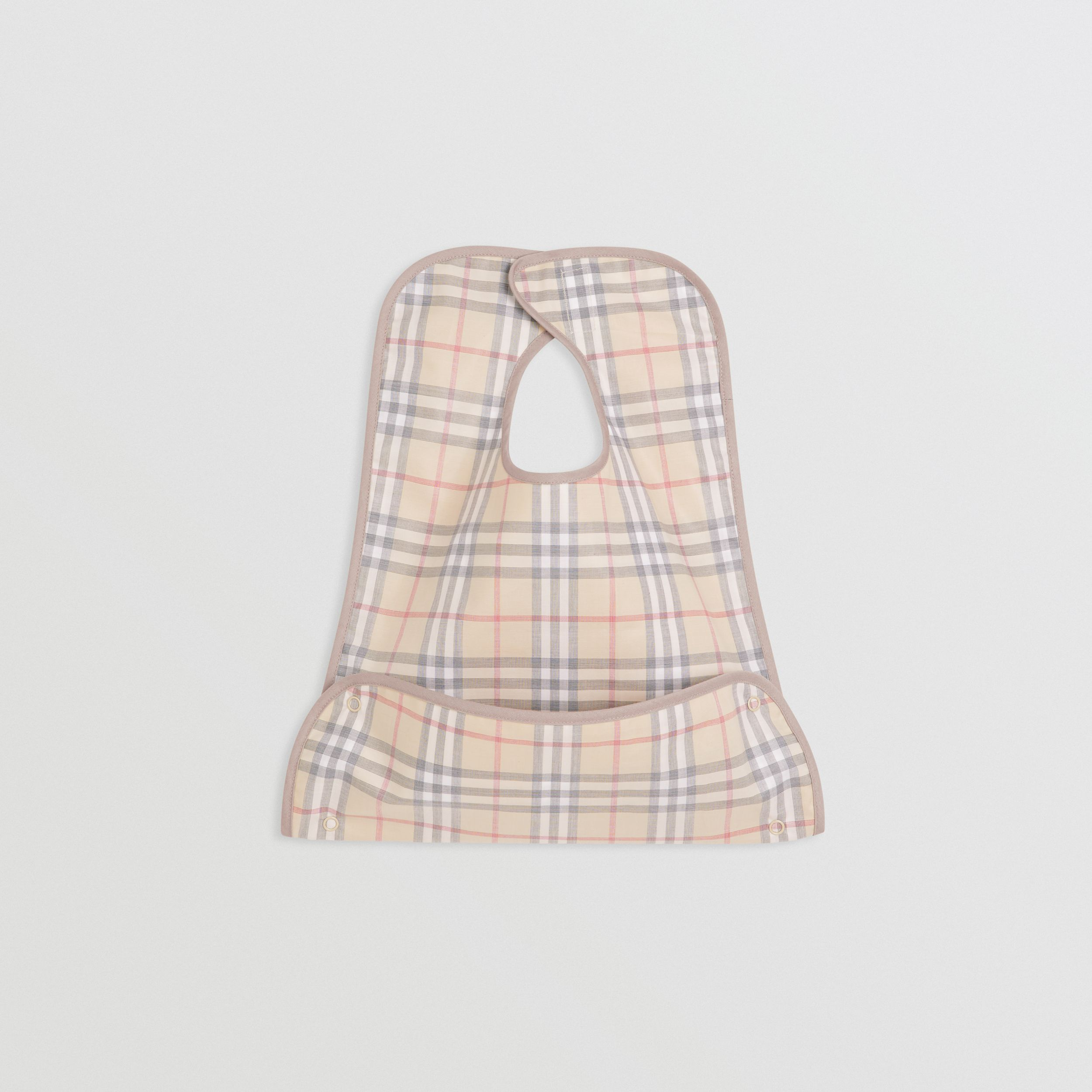 Coated Check Cotton Baby Bib in Pale Stone - Children | Burberry - 1