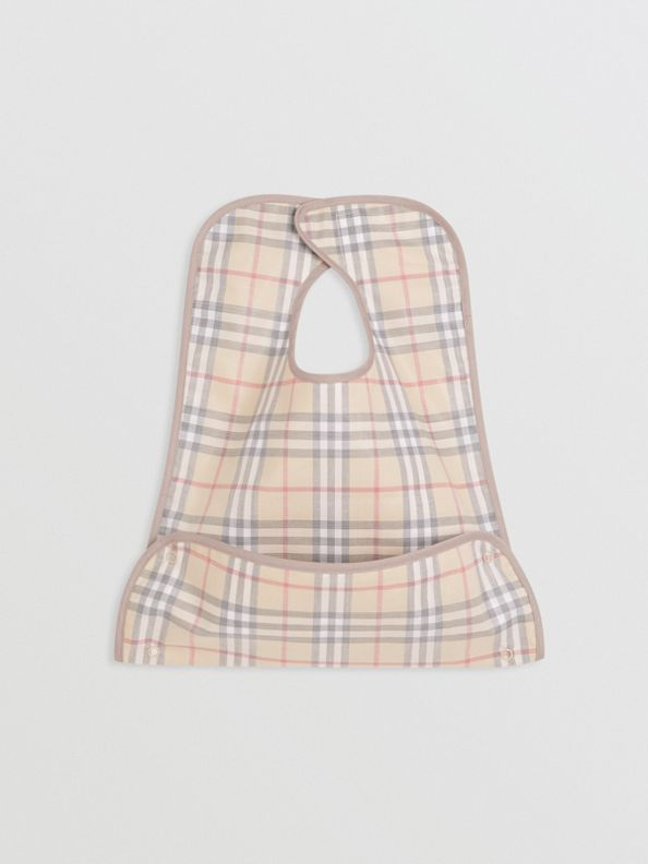 Coated Check Cotton Baby Bib in Pale Stone
