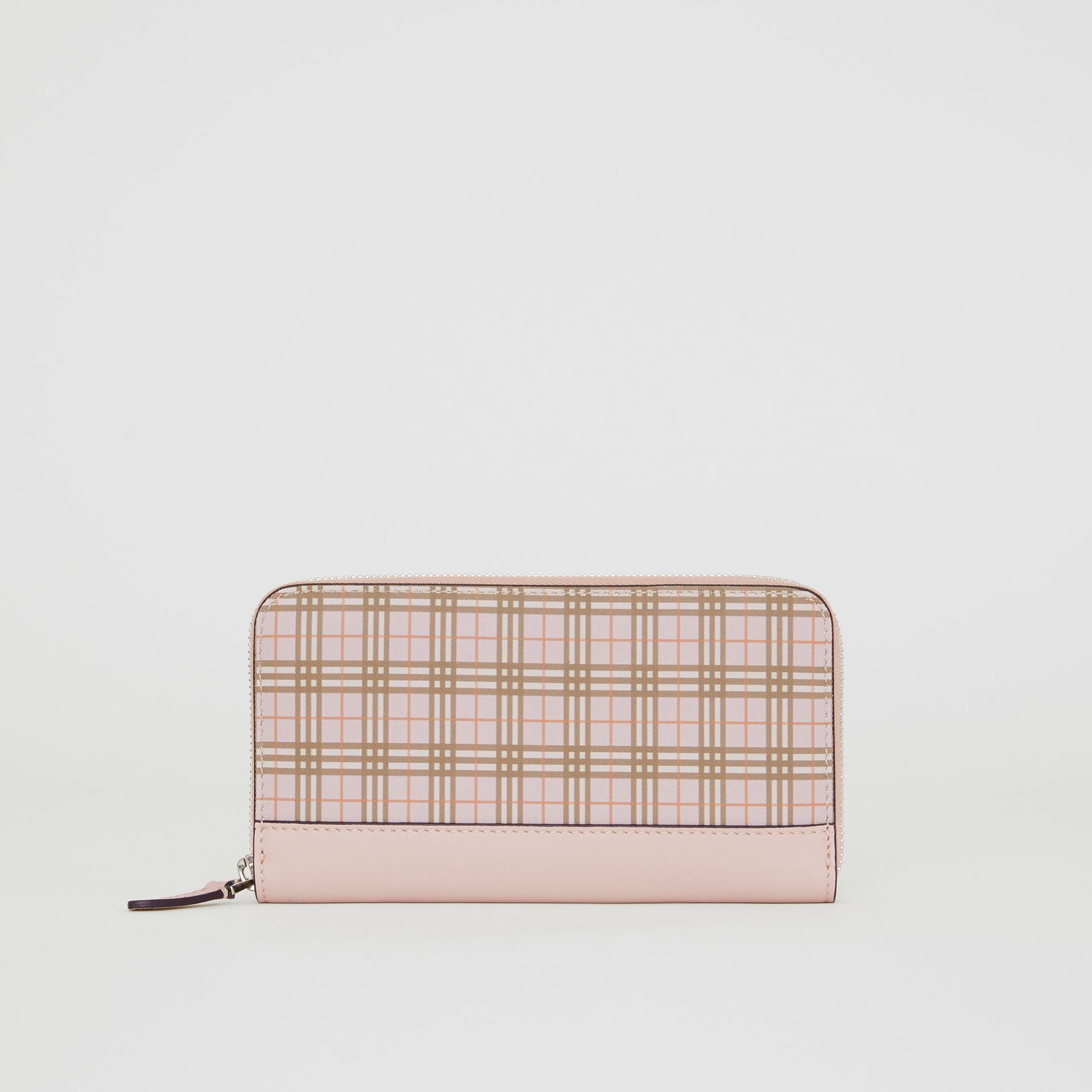 Small Scale Check and Leather Ziparound Wallet in Ice Pink - Women | Burberry - gallery image 2