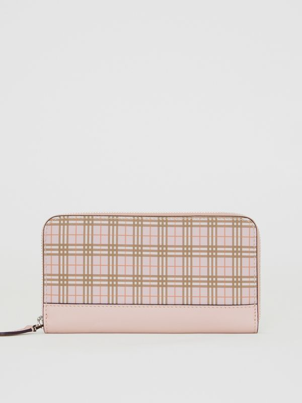 Small Scale Check and Leather Ziparound Wallet in Ice Pink - Women | Burberry - cell image 2