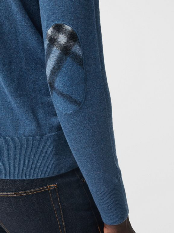 Zip-neck Cashmere Cotton Sweater in Steel Blue - Men | Burberry - cell image 1