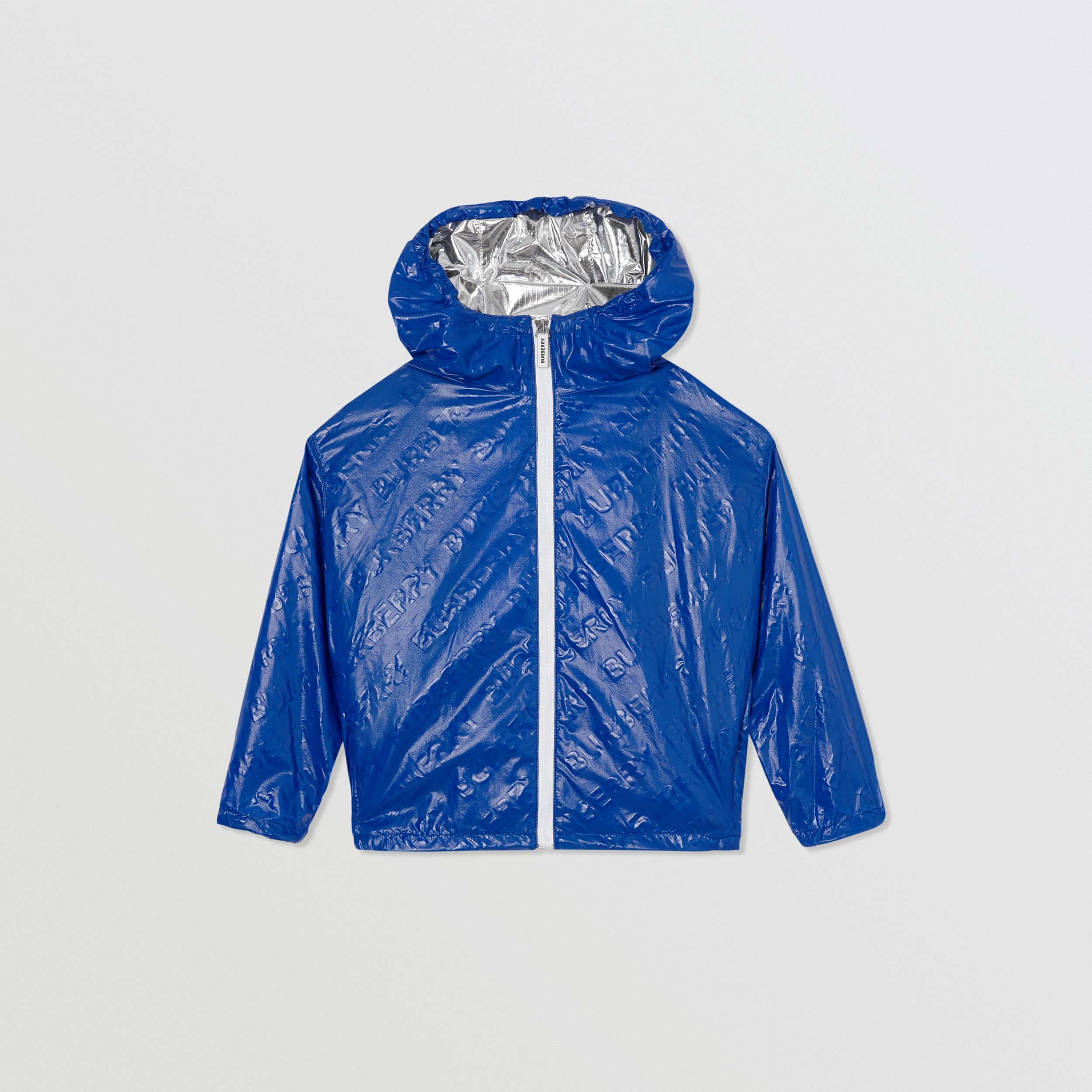 Logo Print Lightweight Hooded Jacket in Deep Cobalt | Burberry - 1
