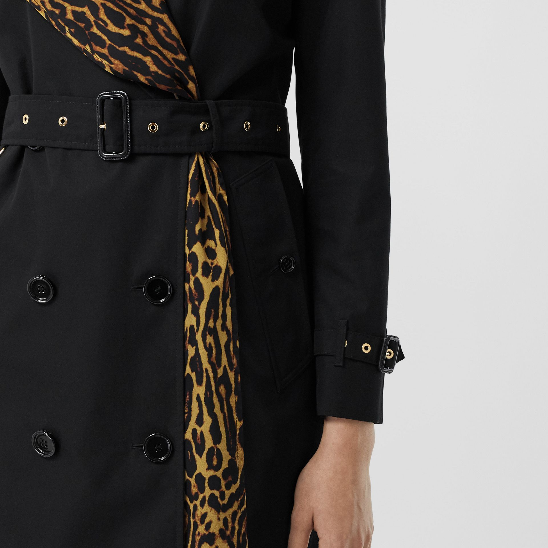 Leopard Print-lined Cotton Gabardine Trench Coat in Black - Women | Burberry United Kingdom - gallery image 5
