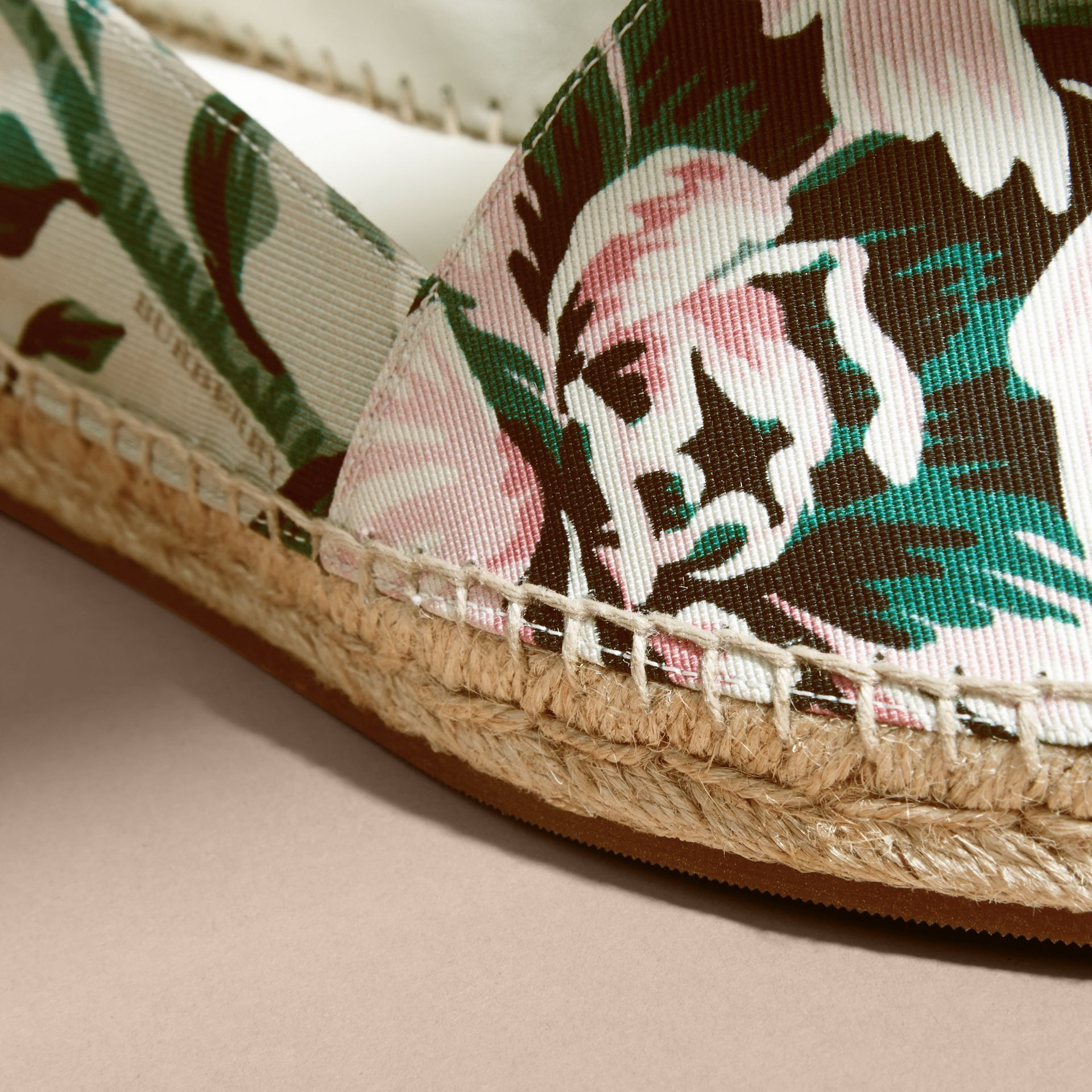Peony Rose Print Canvas Espadrilles Emerald Green - gallery image 2