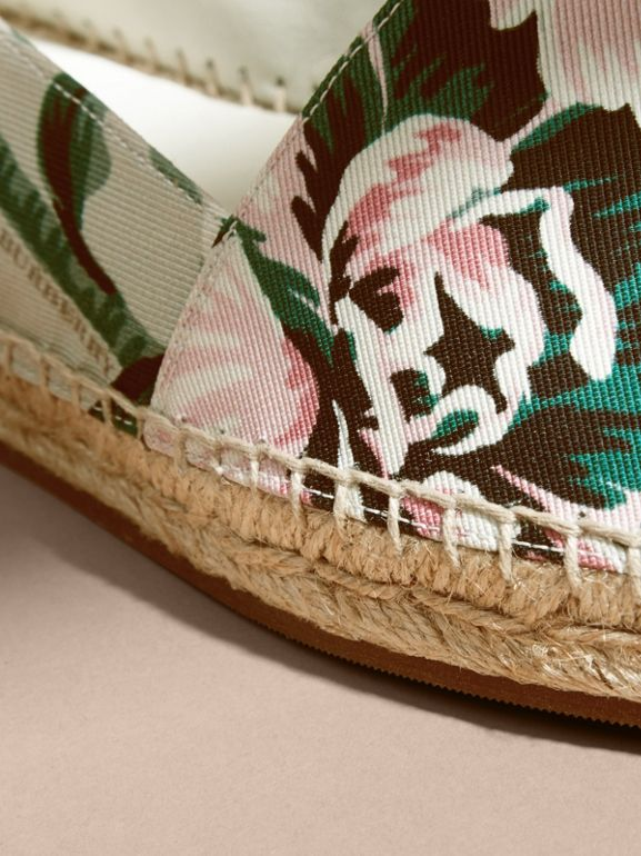 Peony Rose Print Canvas Espadrilles in Emerald Green | Burberry United States - cell image 1