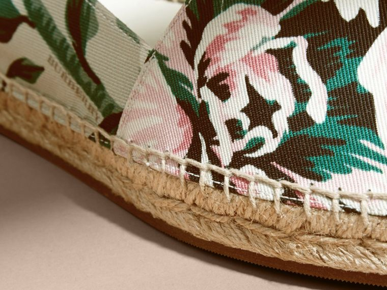Peony Rose Print Canvas Espadrilles Emerald Green - cell image 1