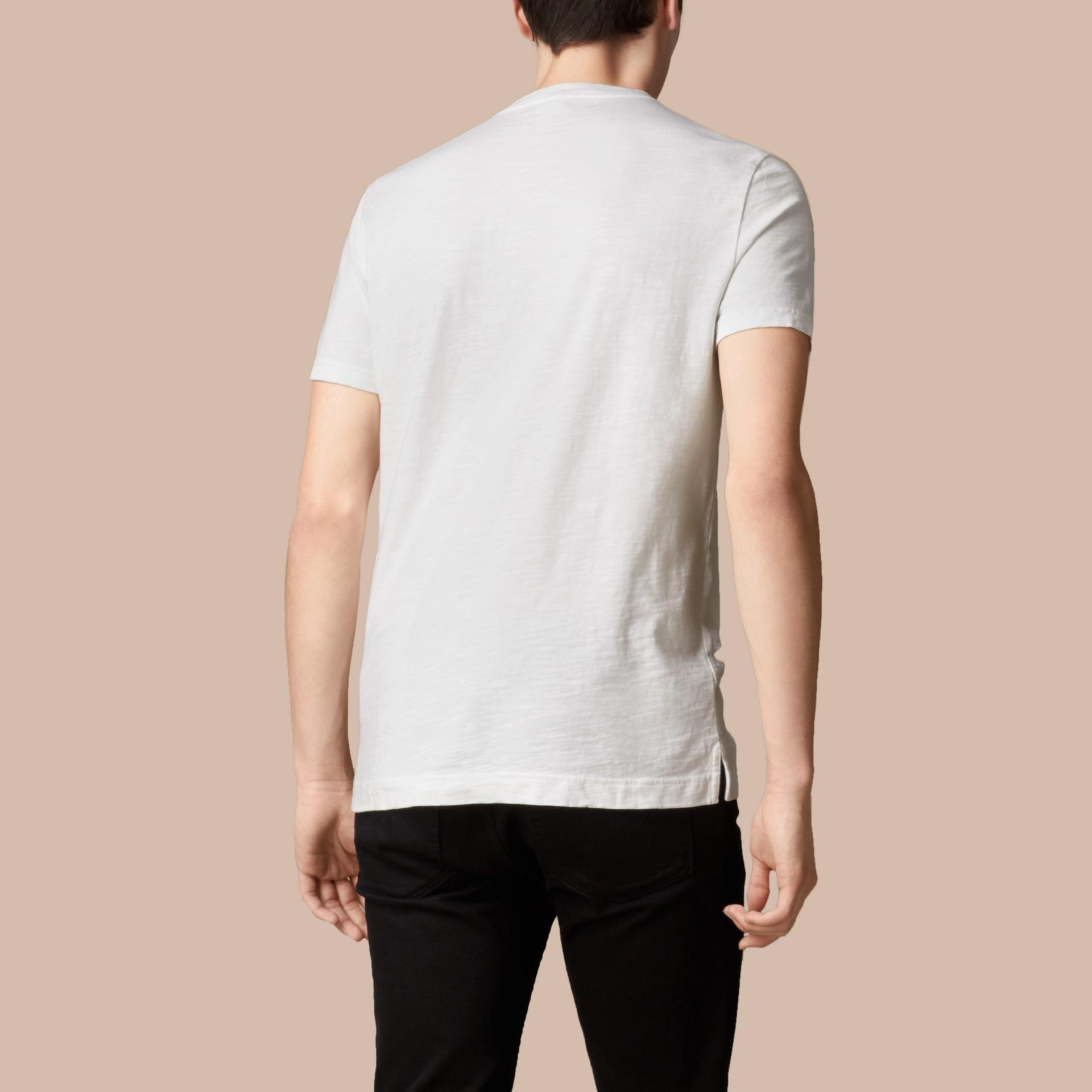 ホワイト スラブジャージー ダブルダイド Tシャツ ホワイト - ギャラリーイメージ 3
