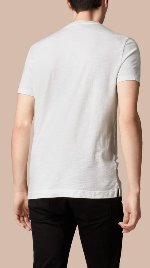 White Slub Jersey Double Dyed T-Shirt White - Image 3