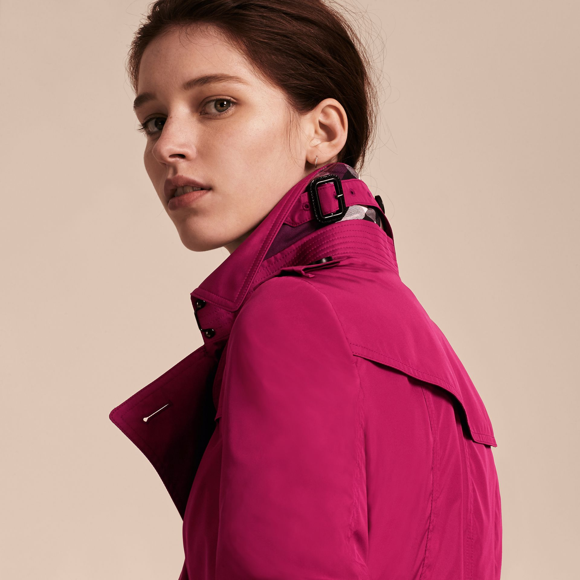 Mid-length Technical Trench Coat Damson Magenta - gallery image 6