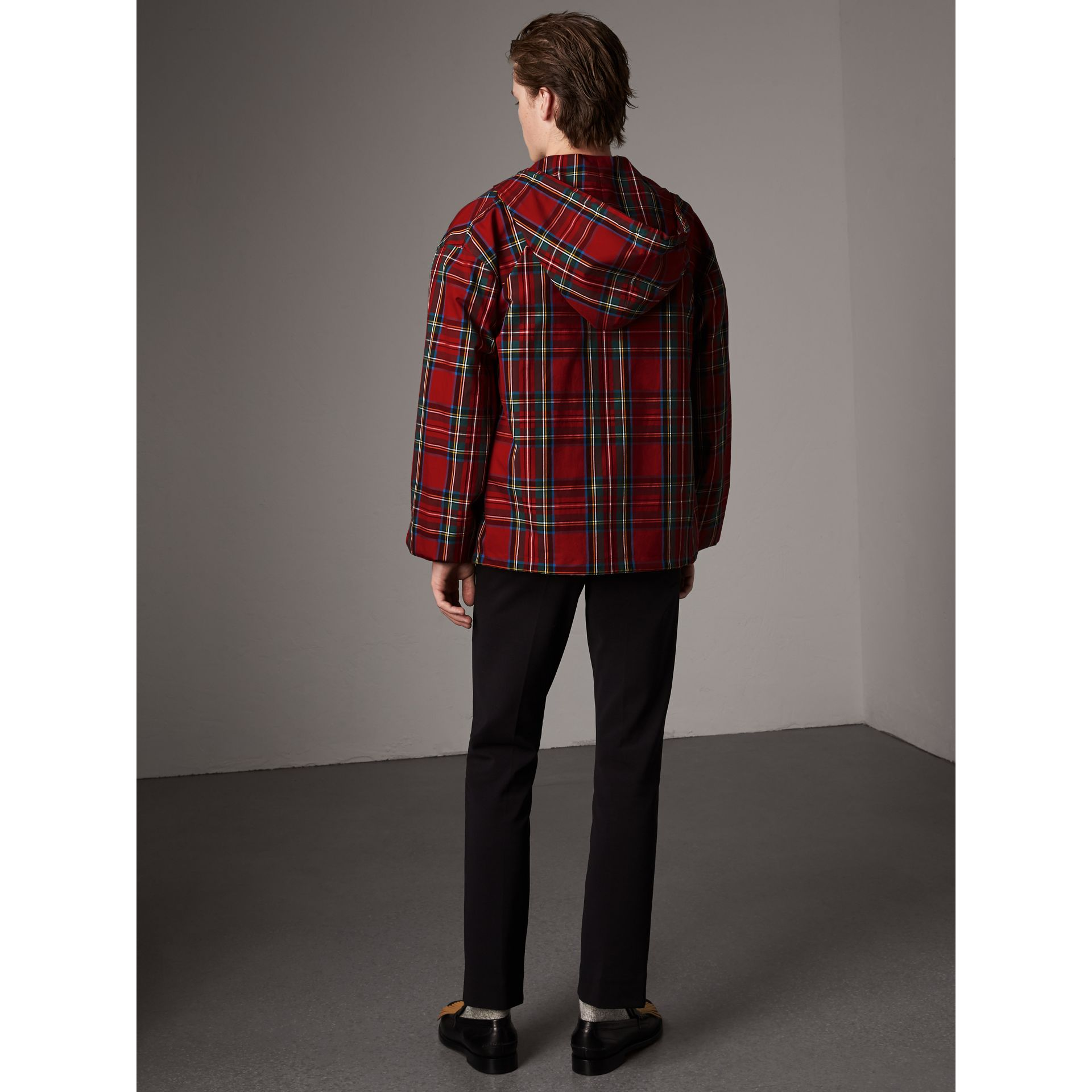 Tartan Cotton Hooded Jacket in Bright Red - Men | Burberry United Kingdom - gallery image 3