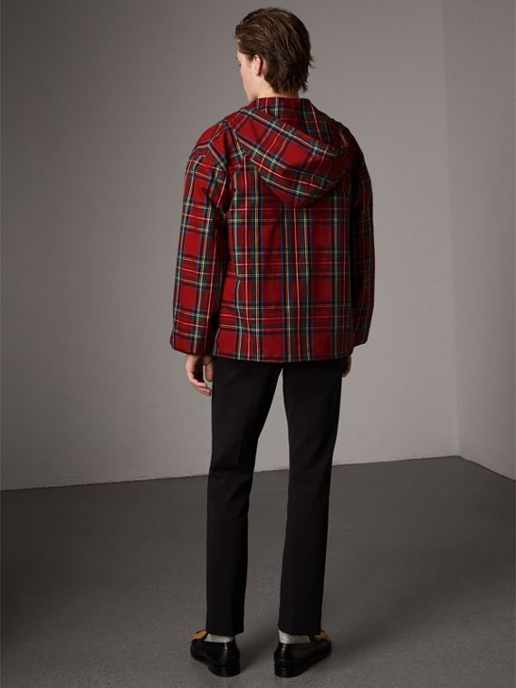 Tartan Cotton Hooded Jacket in Bright Red - Men | Burberry United Kingdom - cell image 2