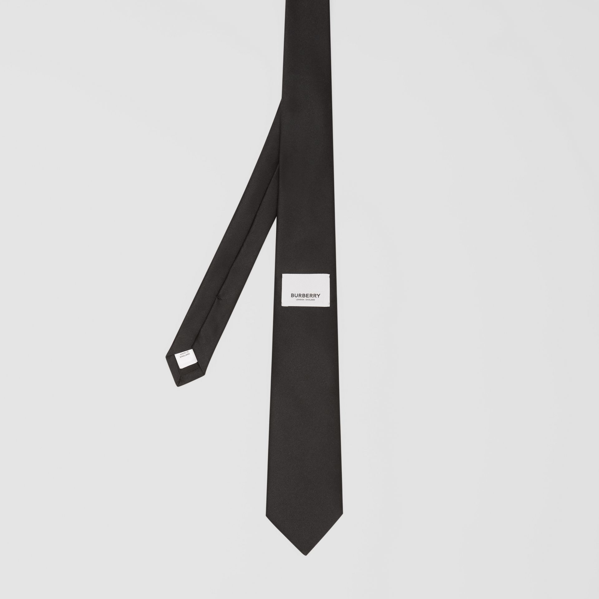 Classic Cut Logo Appliqué Silk Satin Tie in Black - Men | Burberry - gallery image 4