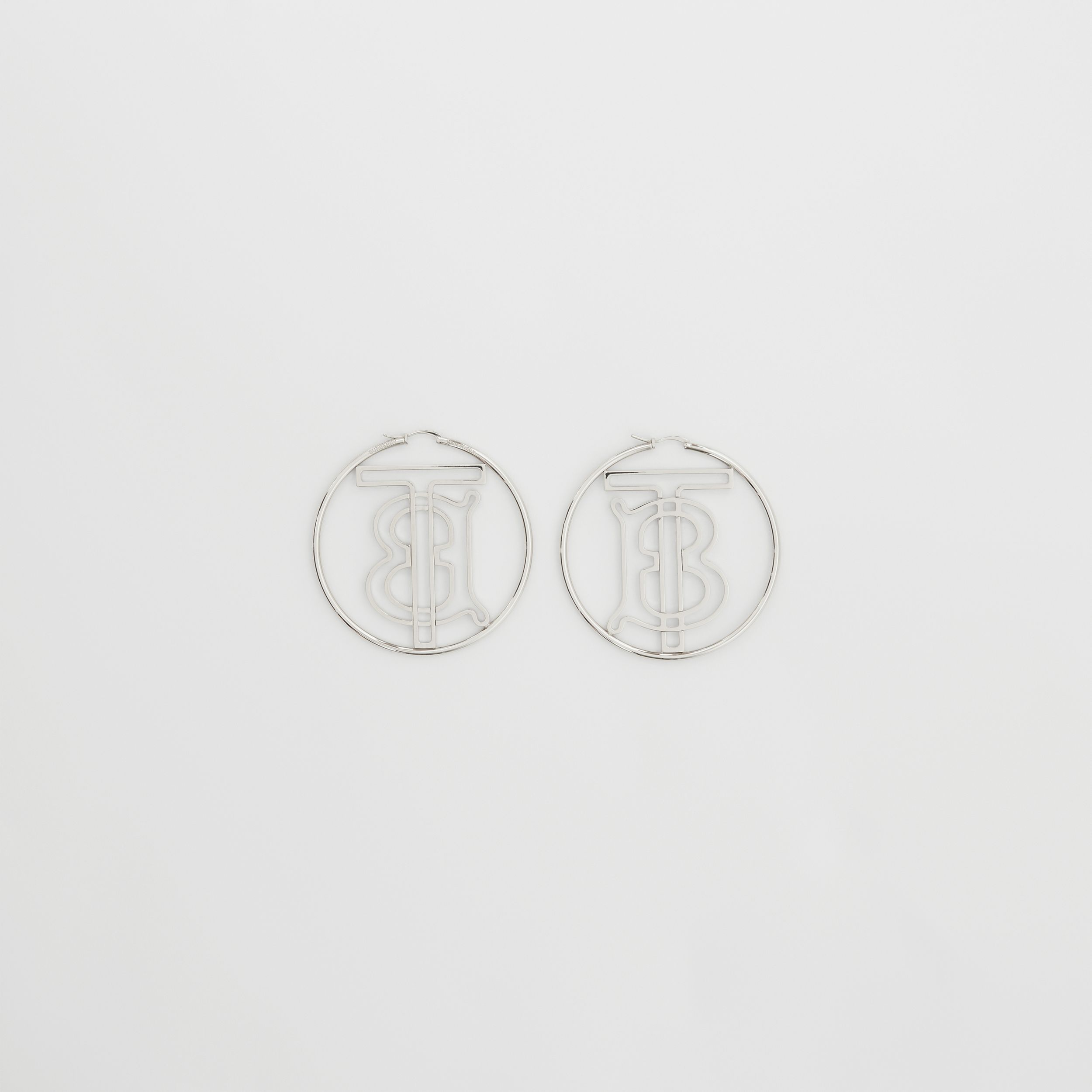 Palladium-plated Monogram Motif Hoop Earrings in Palladio - Women | Burberry Hong Kong S.A.R - 4