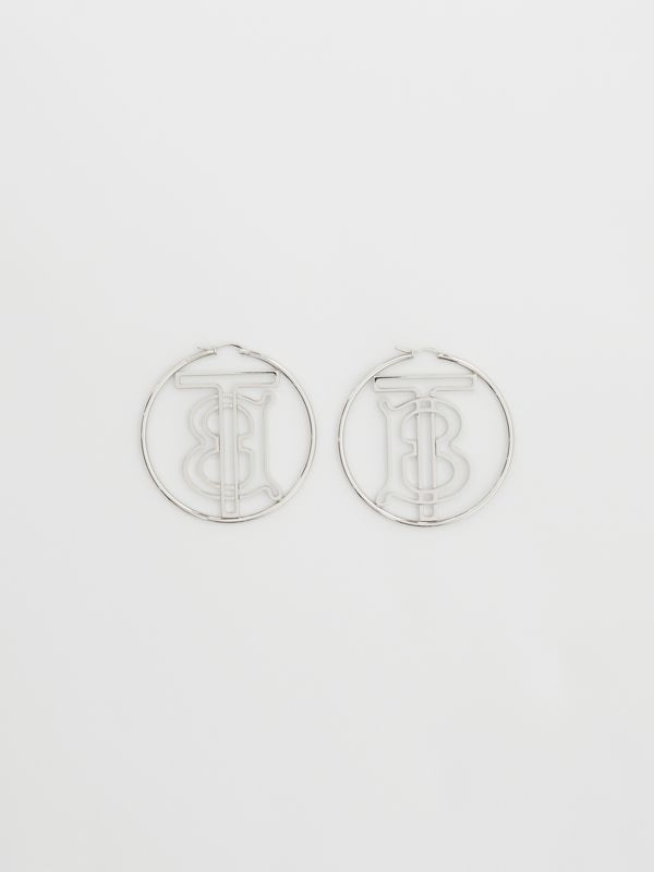 Palladium-plated Monogram Motif Hoop Earrings in Palladio - Women | Burberry Singapore - cell image 3