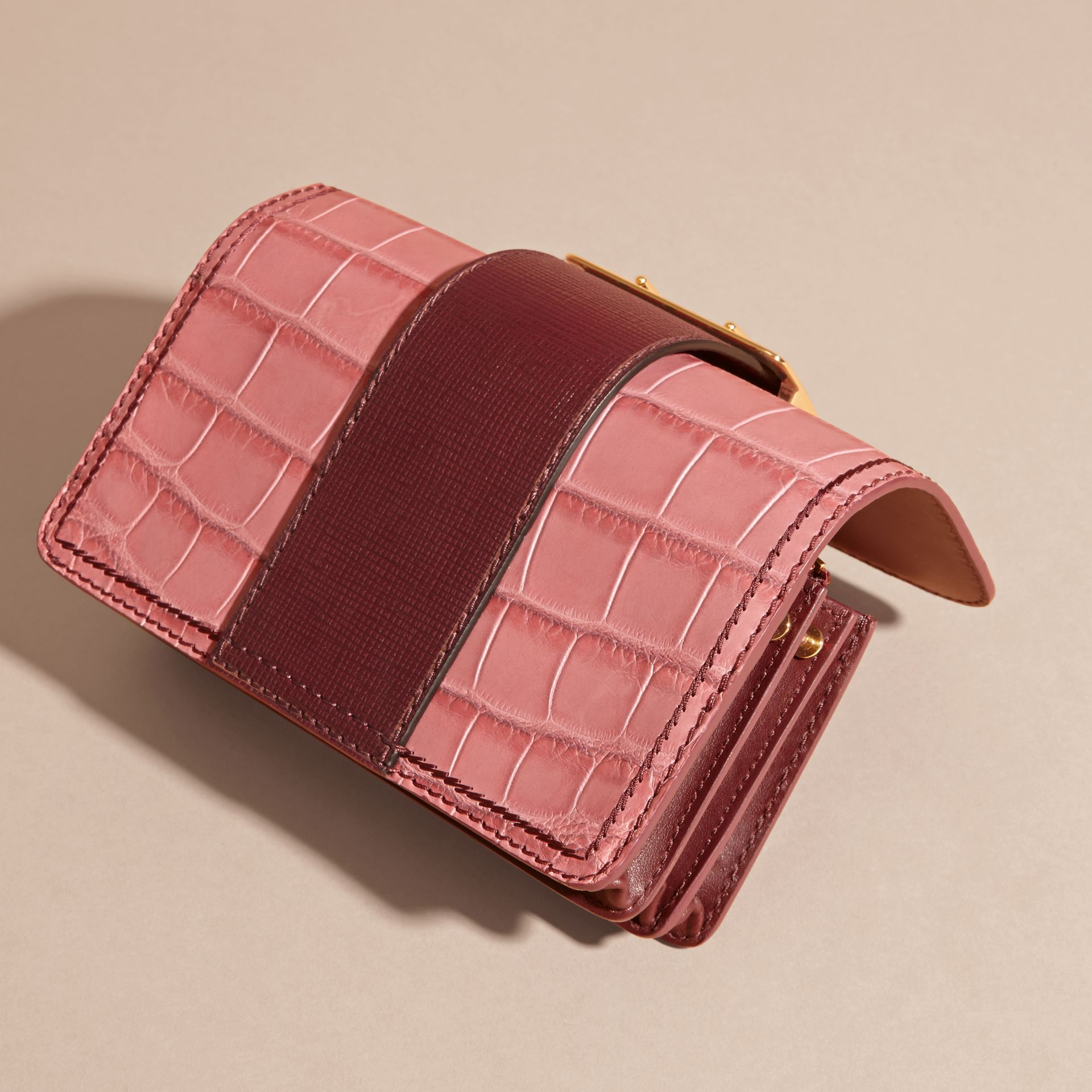Dusky pink/ burgundy The Small Buckle Bag in Alligator and Leather Dusky Pink/ Burgundy - gallery image 7