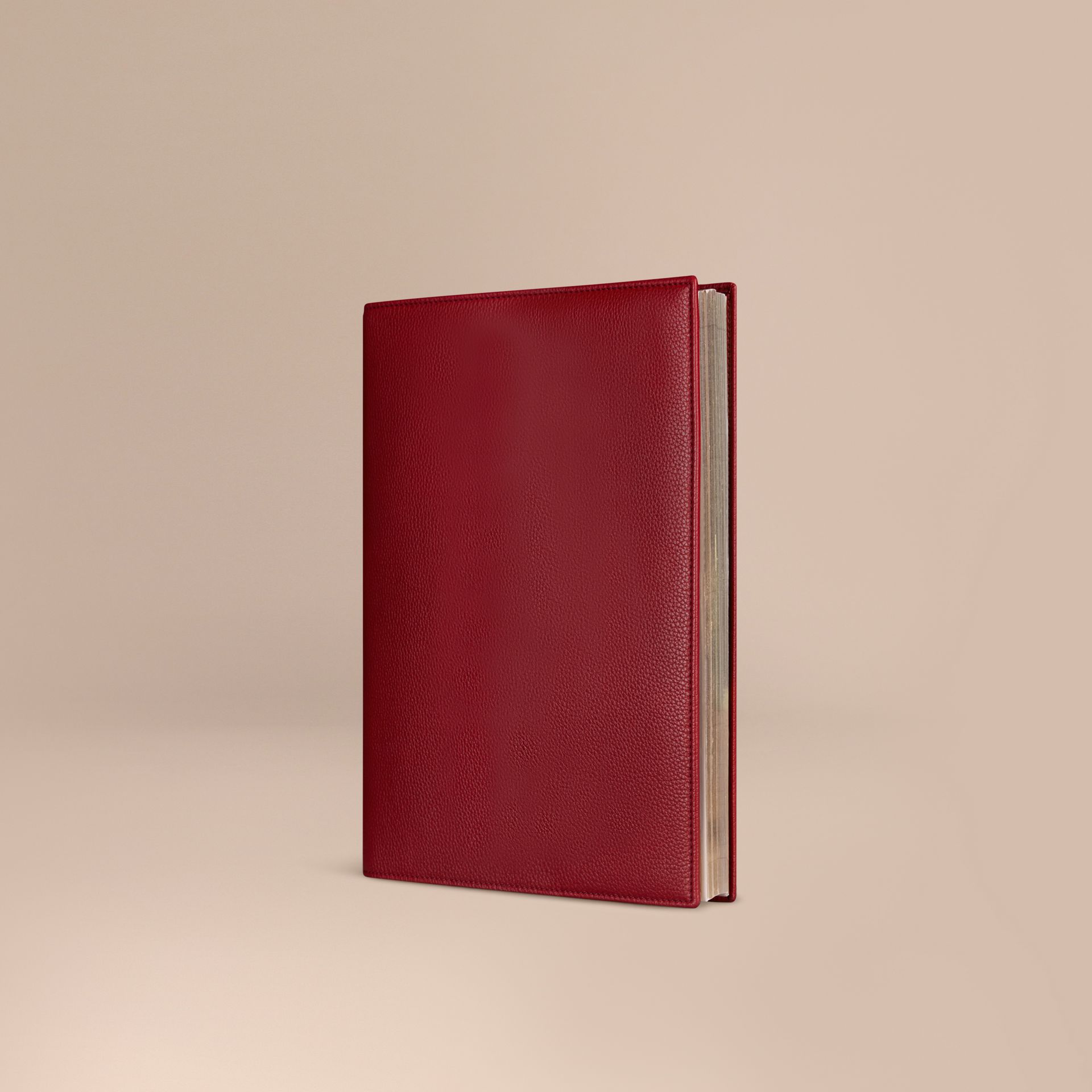 Grainy Leather A4 Notebook in Parade Red | Burberry - gallery image 1