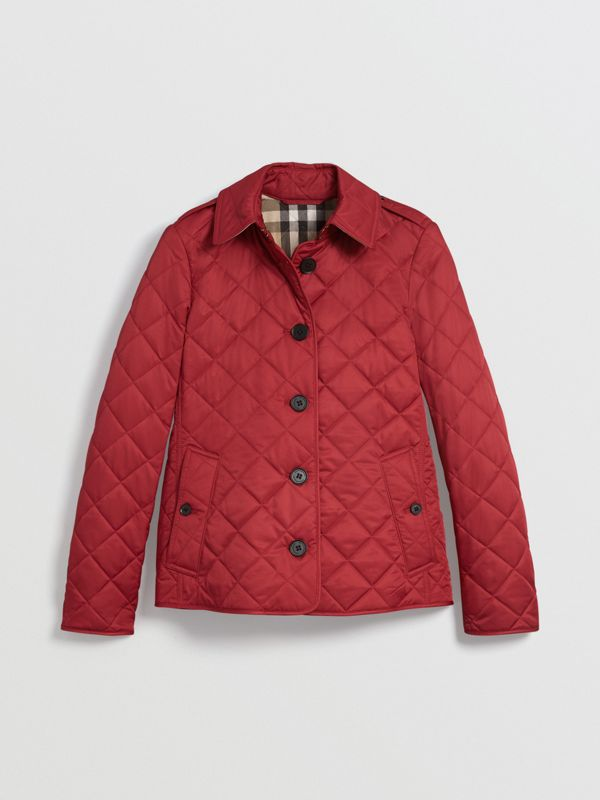 Diamond Quilted Jacket in Parade Red | Burberry - cell image 3