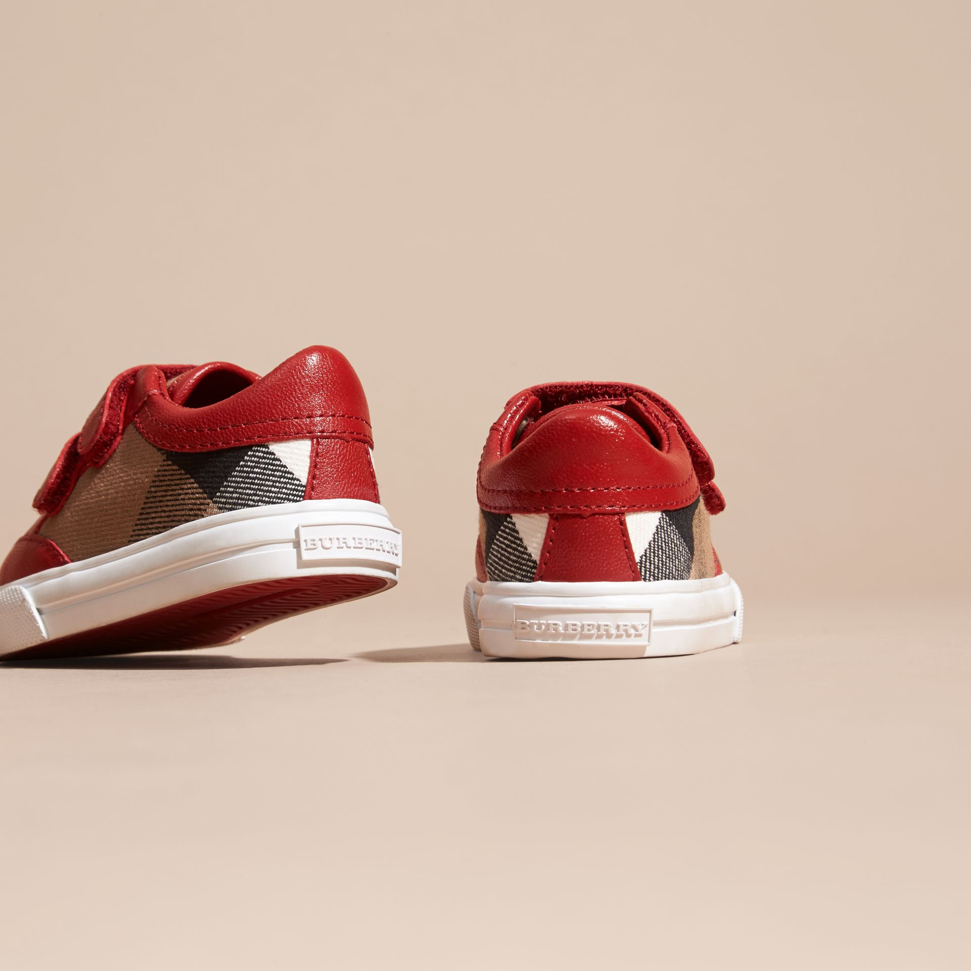 House Check and Leather Trainers in Parade Red | Burberry Singapore - gallery image 4
