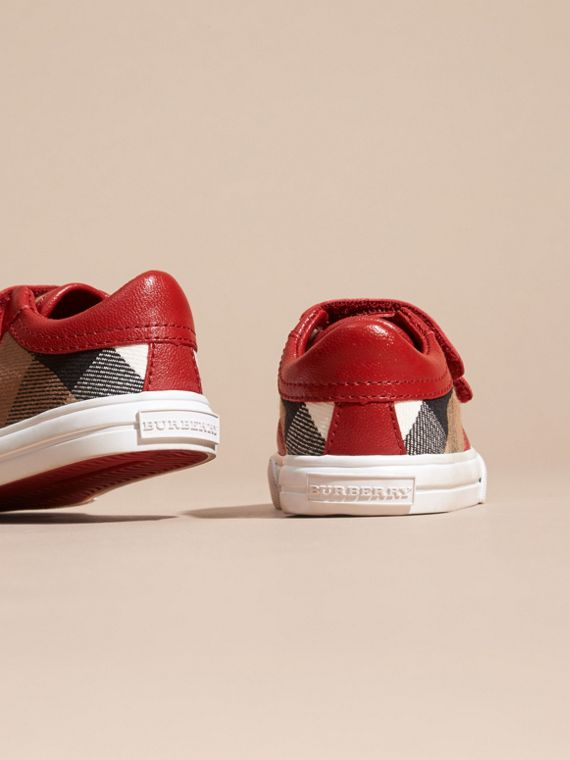 House Check and Leather Trainers in Parade Red | Burberry - cell image 3