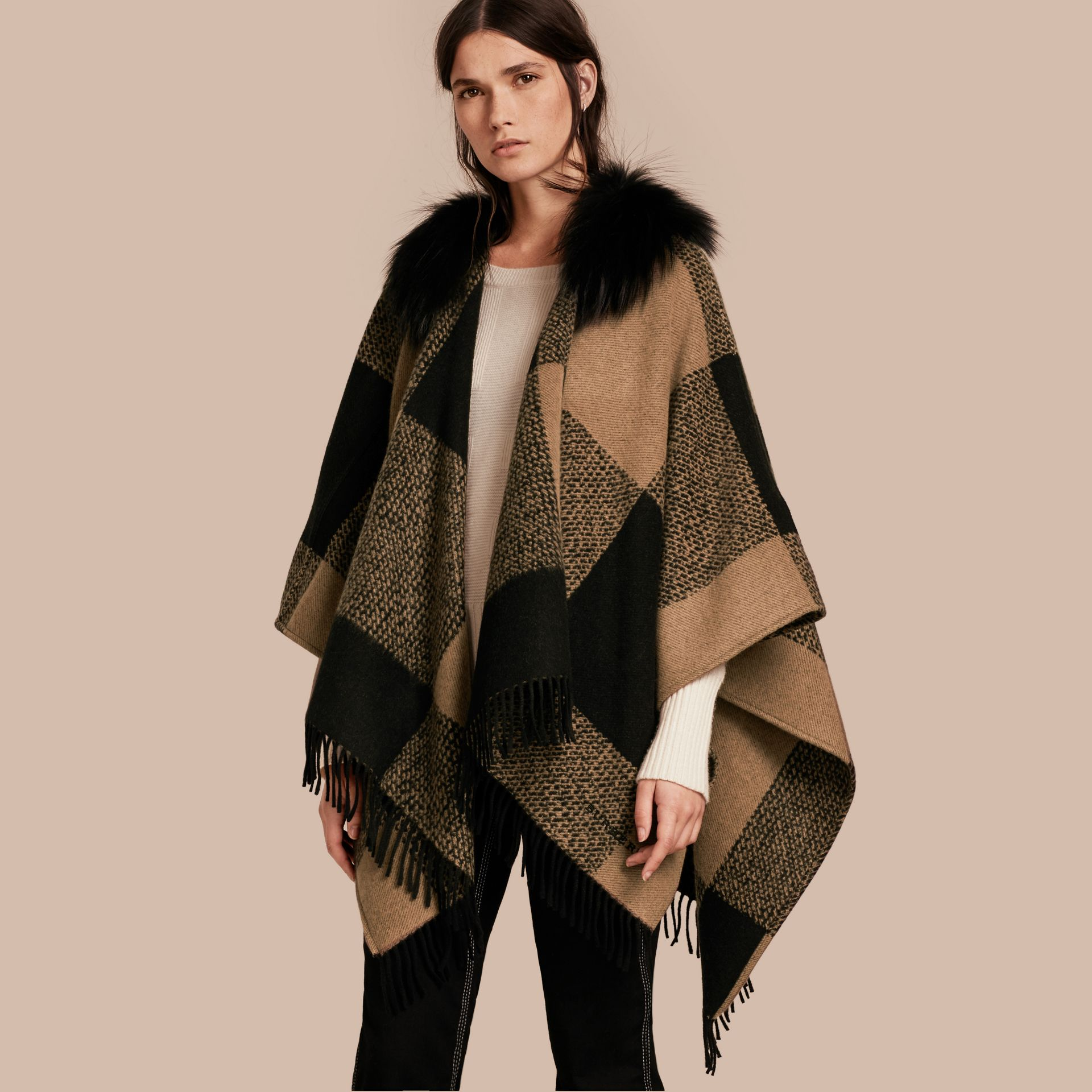 Camel Fur-trimmed Buffalo Check Wool Cashmere Poncho Camel - gallery image 1